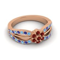 Simple Floral Pave Kalikda Garnet Ring with Blue Sapphire and Swiss Blue Topaz in 14K Rose Gold