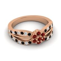 Simple Floral Pave Kalikda Garnet Ring with Diamond and Black Onyx in 18K Rose Gold