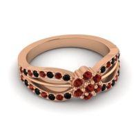 Simple Floral Pave Kalikda Garnet Ring with Black Onyx in 14K Rose Gold