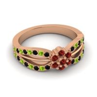 Simple Floral Pave Kalikda Garnet Ring with Peridot and Black Onyx in 18K Rose Gold