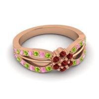 Simple Floral Pave Kalikda Garnet Ring with Pink Tourmaline and Peridot in 14K Rose Gold