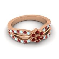 Simple Floral Pave Kalikda Garnet Ring with Ruby and Aquamarine in 18K Rose Gold