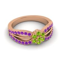 Simple Floral Pave Kalikda Peridot Ring with Amethyst in 18K Rose Gold