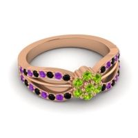 Simple Floral Pave Kalikda Peridot Ring with Amethyst and Black Onyx in 18K Rose Gold