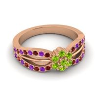 Simple Floral Pave Kalikda Peridot Ring with Amethyst and Garnet in 18K Rose Gold