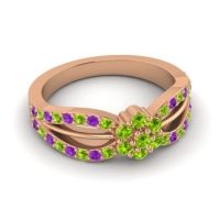 Simple Floral Pave Kalikda Peridot Ring with Amethyst in 14K Rose Gold