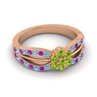 Simple Floral Pave Kalikda Peridot Ring with Amethyst and Swiss Blue Topaz in 14K Rose Gold
