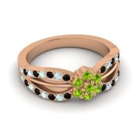 Simple Floral Pave Kalikda Peridot Ring with Aquamarine and Black Onyx in 14K Rose Gold