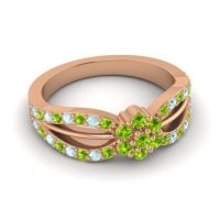 Simple Floral Pave Kalikda Peridot Ring with Aquamarine in 18K Rose Gold