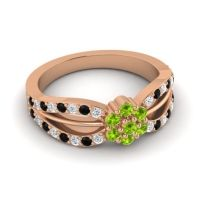 Simple Floral Pave Kalikda Peridot Ring with Black Onyx and Diamond in 14K Rose Gold