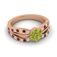 Simple Floral Pave Kalikda Peridot Ring with Garnet and Diamond in 14K Rose Gold