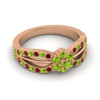 Simple Floral Pave Kalikda Peridot Ring with Garnet in 18K Rose Gold