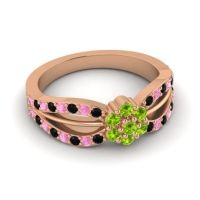 Simple Floral Pave Kalikda Peridot Ring with Pink Tourmaline and Black Onyx in 18K Rose Gold