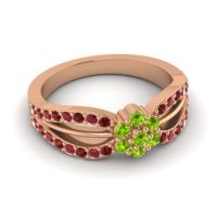 Simple Floral Pave Kalikda Peridot Ring with Ruby and Garnet in 14K Rose Gold
