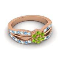 Simple Floral Pave Kalikda Peridot Ring with Swiss Blue Topaz and Aquamarine in 14K Rose Gold