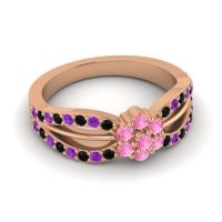Simple Floral Pave Kalikda Pink Tourmaline Ring with Amethyst and Black Onyx in 18K Rose Gold