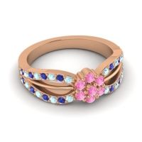 Simple Floral Pave Kalikda Pink Tourmaline Ring with Blue Sapphire and Aquamarine in 14K Rose Gold