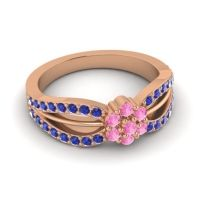Simple Floral Pave Kalikda Pink Tourmaline Ring with Blue Sapphire in 18K Rose Gold