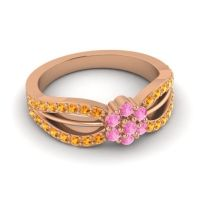 Simple Floral Pave Kalikda Pink Tourmaline Ring with Citrine in 14K Rose Gold