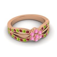 Simple Floral Pave Kalikda Pink Tourmaline Ring with Peridot and Ruby in 18K Rose Gold