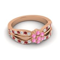Simple Floral Pave Kalikda Pink Tourmaline Ring with Ruby and Diamond in 14K Rose Gold
