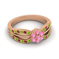 Simple Floral Pave Kalikda Pink Tourmaline Ring with Ruby and Peridot in 18K Rose Gold