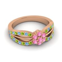Simple Floral Pave Kalikda Pink Tourmaline Ring with Swiss Blue Topaz and Peridot in 14K Rose Gold