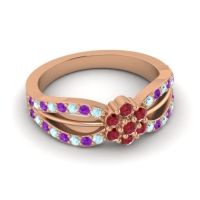 Simple Floral Pave Kalikda Ruby Ring with Amethyst and Aquamarine in 14K Rose Gold