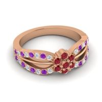 Simple Floral Pave Kalikda Ruby Ring with Amethyst and Diamond in 18K Rose Gold