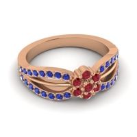 Simple Floral Pave Kalikda Ruby Ring with Blue Sapphire in 18K Rose Gold