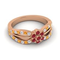 Simple Floral Pave Kalikda Ruby Ring with Citrine and Diamond in 14K Rose Gold