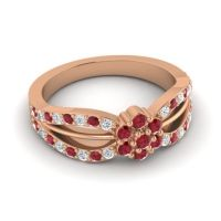 Simple Floral Pave Kalikda Ruby Ring with Diamond in 18K Rose Gold