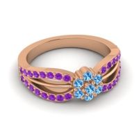 Simple Floral Pave Kalikda Swiss Blue Topaz Ring with Amethyst in 18K Rose Gold