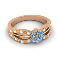 Simple Floral Pave Kalikda Swiss Blue Topaz Ring with Citrine and Aquamarine in 18K Rose Gold