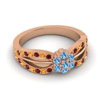 Simple Floral Pave Kalikda Swiss Blue Topaz Ring with Citrine and Garnet in 14K Rose Gold