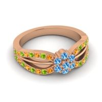 Simple Floral Pave Kalikda Swiss Blue Topaz Ring with Peridot and Citrine in 14K Rose Gold