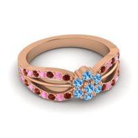 Simple Floral Pave Kalikda Swiss Blue Topaz Ring with Pink Tourmaline and Garnet in 18K Rose Gold