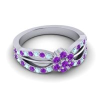 Simple Floral Pave Kalikda Amethyst Ring with Aquamarine in 14k White Gold