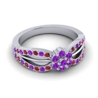 Simple Floral Pave Kalikda Amethyst Ring with Ruby in 14k White Gold