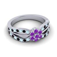 Simple Floral Pave Kalikda Amethyst Ring with Black Onyx and Aquamarine in Palladium