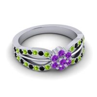 Simple Floral Pave Kalikda Amethyst Ring with Black Onyx and Peridot in 14k White Gold