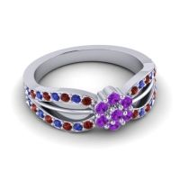 Simple Floral Pave Kalikda Amethyst Ring with Blue Sapphire and Garnet in Palladium