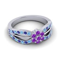 Simple Floral Pave Kalikda Amethyst Ring with Blue Sapphire and Swiss Blue Topaz in 14k White Gold