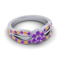 Simple Floral Pave Kalikda Amethyst Ring with Citrine in 14k White Gold