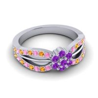 Simple Floral Pave Kalikda Amethyst Ring with Citrine and Pink Tourmaline in 14k White Gold