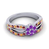 Simple Floral Pave Kalikda Amethyst Ring with Citrine and Ruby in Palladium