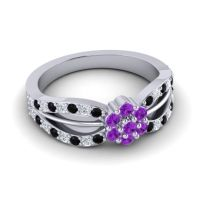 Simple Floral Pave Kalikda Amethyst Ring with Diamond and Black Onyx in Platinum