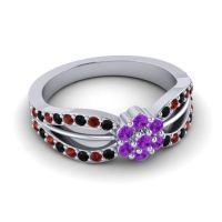 Simple Floral Pave Kalikda Amethyst Ring with Garnet and Black Onyx in 14k White Gold