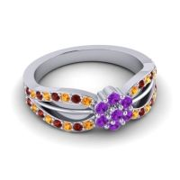 Simple Floral Pave Kalikda Amethyst Ring with Garnet and Citrine in Palladium