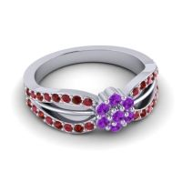 Simple Floral Pave Kalikda Amethyst Ring with Garnet and Ruby in Palladium